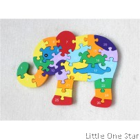 Wooden Toys: Enlightenment Early Learning Puzzle Puzzle 26 English Alphanumeric Cognition Wooden Puzzle Blocking Elephant Toy